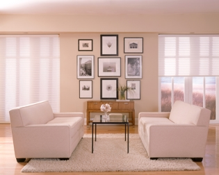 beautiful white modern living room with motorized blinds