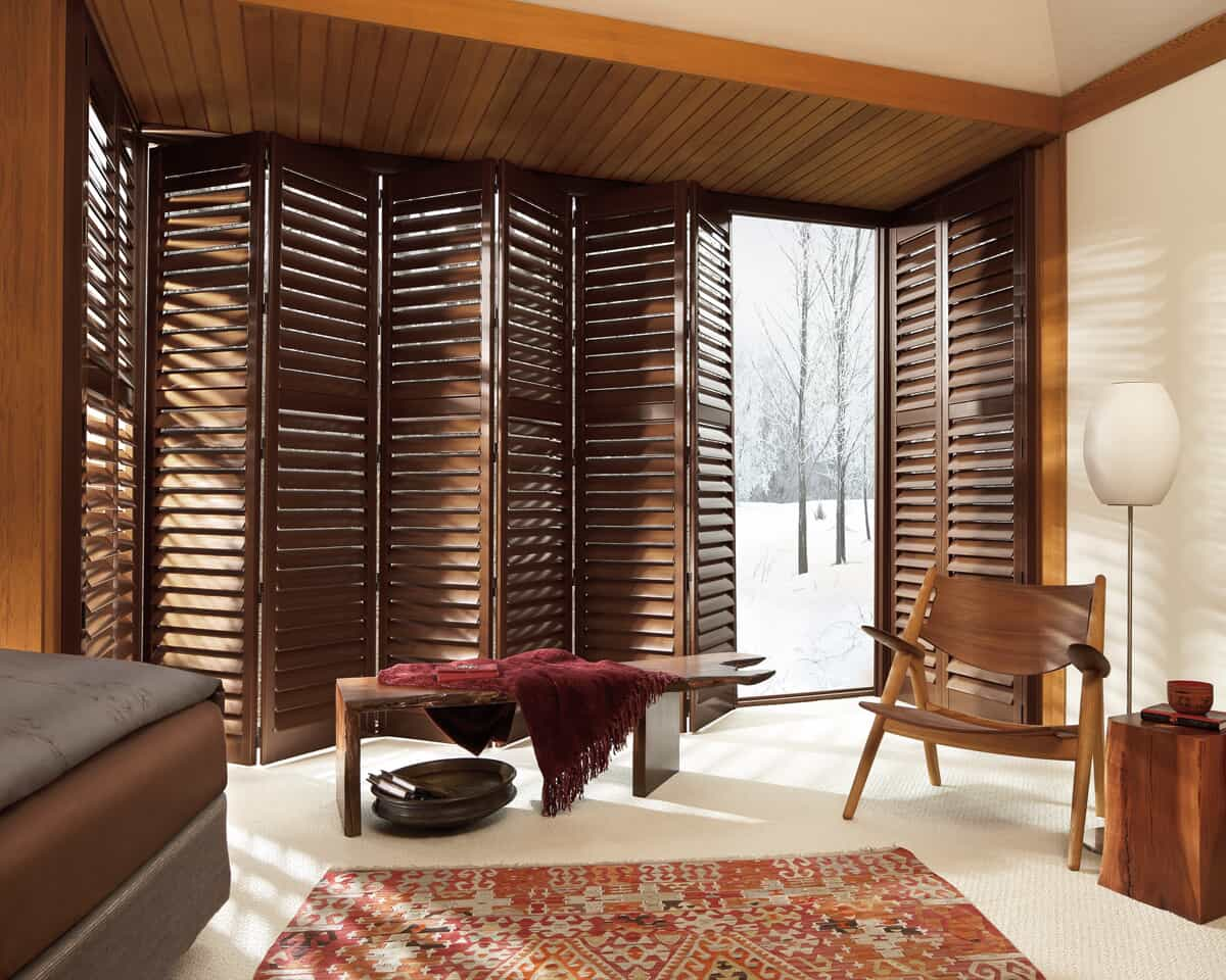 custom wood shutters for floor-to-ceiling windows