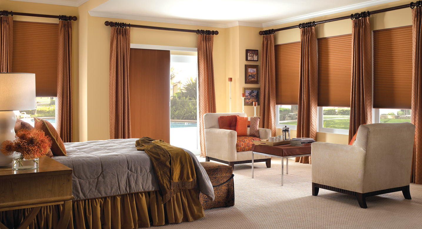 room with cellular shades and curtains