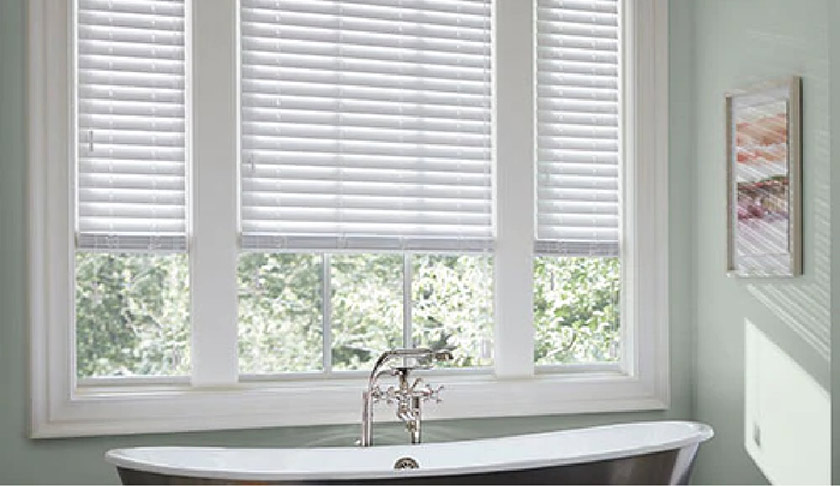 motorized blinds for a bathroom